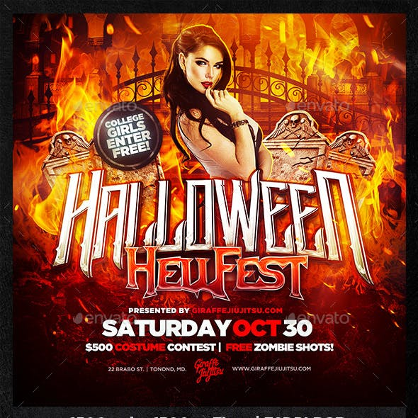 Halloween Hellfest Square Flyer Template
