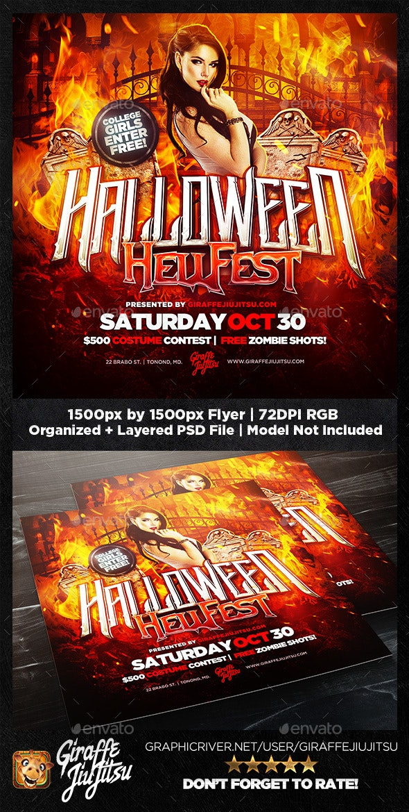 Halloween Hellfest Square Flyer Template - Holidays Events