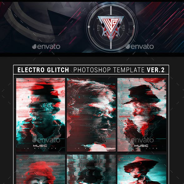Electro Glitch Photoshop Template Ver. 2