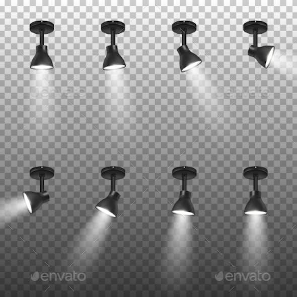 Vector Realistic Black Spotlights Set