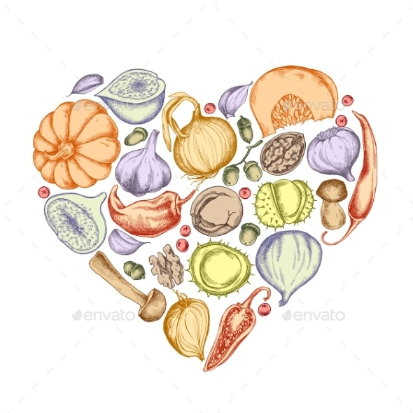 Vector Collection of Hand Drawn Autumn Vegetables - Food Objects