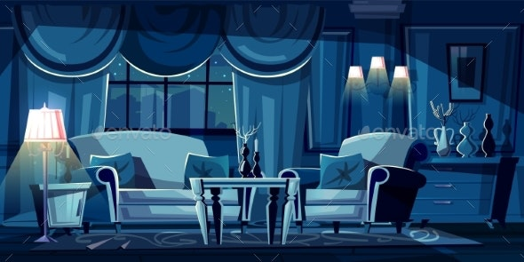 Vector Cartoon Living Room at Night - Backgrounds Decorative