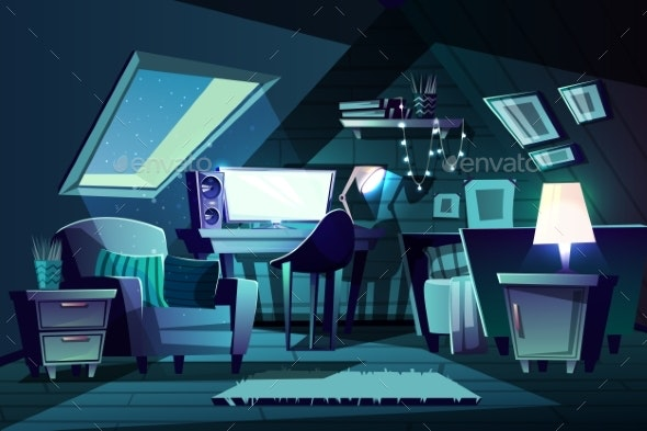 Vector Girl s Room at Night - Backgrounds Decorative