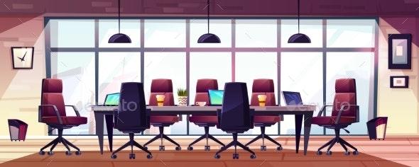 Modern Business Office Meeting Room Cartoon Vector - Concepts Business