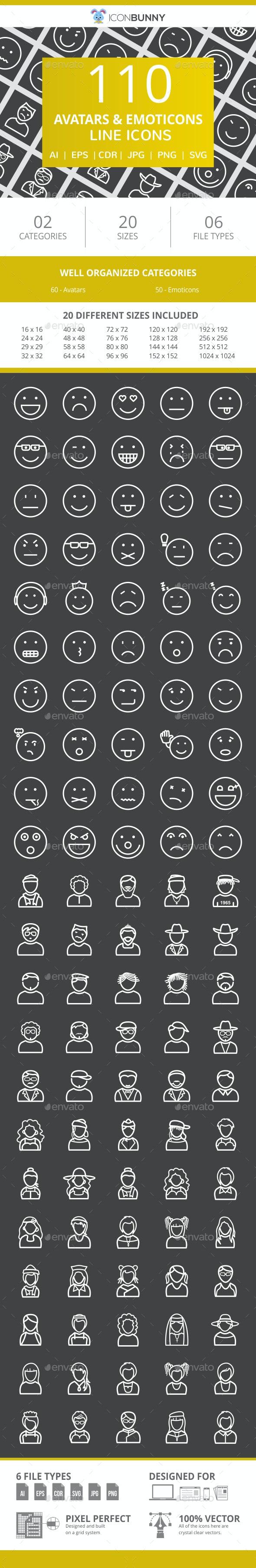 110 Avatars & Emoticons Line Inverted Icons - Icons