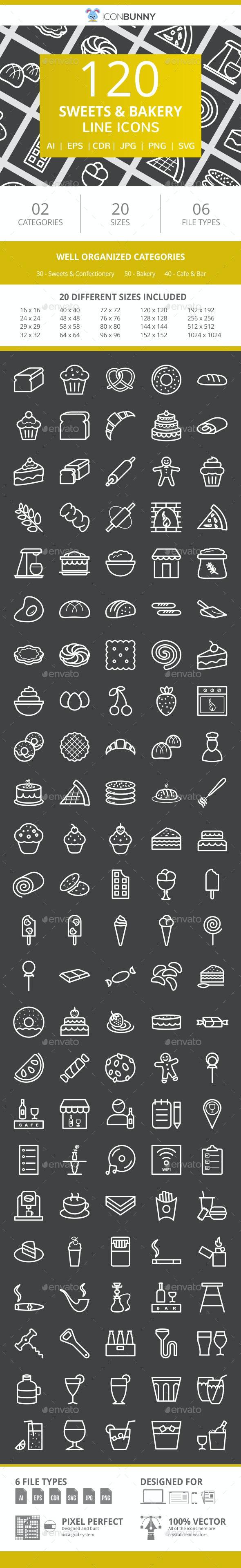 120 Sweets & Bakery Line Inverted Icons - Icons
