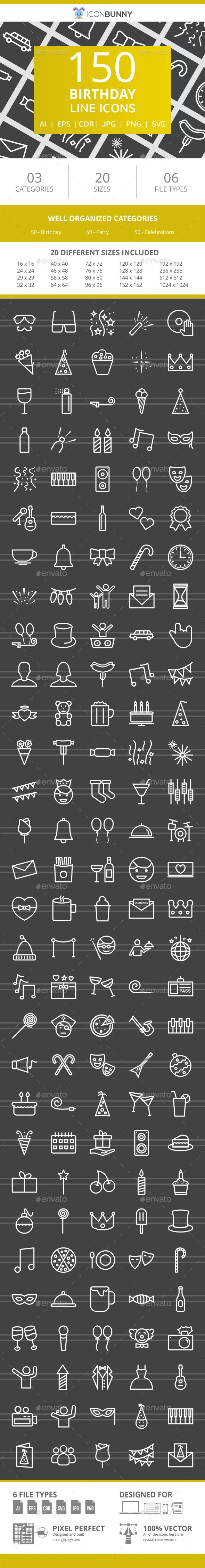 150 Birthday Line Inverted Icons - Icons
