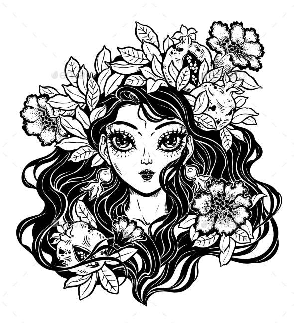 Girl with Flowers - People Characters