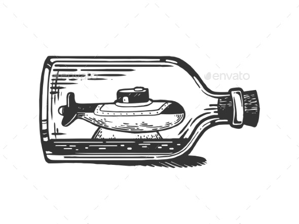 Submarine in Bottle Engraving Vector Illustration - Miscellaneous Vectors