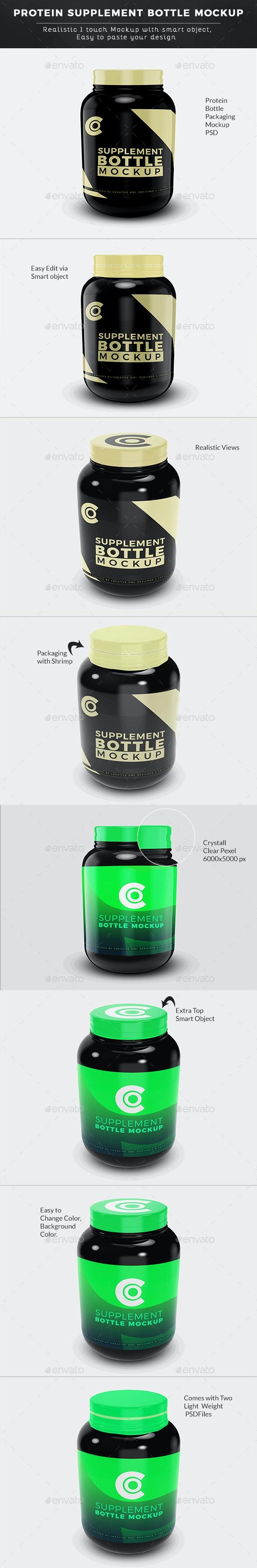 Protein Supplement Bottle Mockup - Packaging Product Mock-Ups