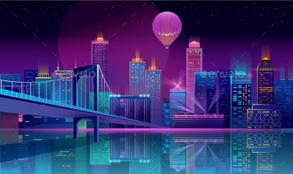 Vector Background with Night City in Neon Lights - Buildings Objects