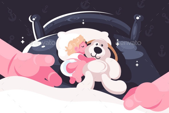 Baby Sleeping in Crib with Toy Teddy Bear - People Characters