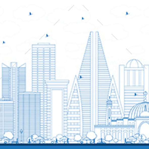 Outline Bahrain City Skyline with Blue Buildings