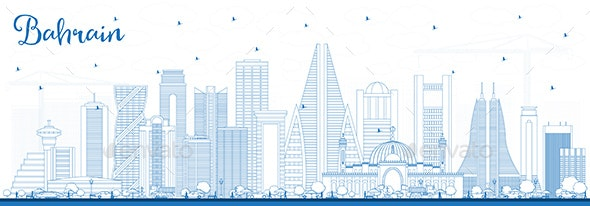 Outline Bahrain City Skyline with Blue Buildings - Buildings Objects