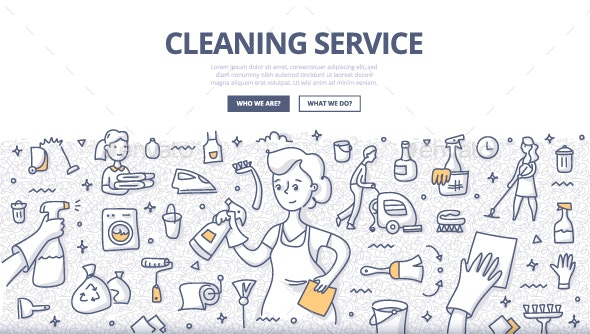 Cleaning Service Doodle Concept - Concepts Business