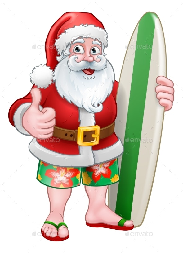 Christmas Santa Claus Surf Cartoon - Christmas Seasons/Holidays