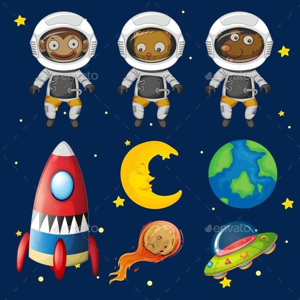 Set of Space Animals Element - People Characters