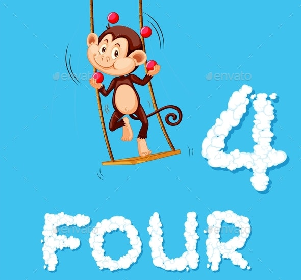 Monkey Juggling Four Balls - Animals Characters