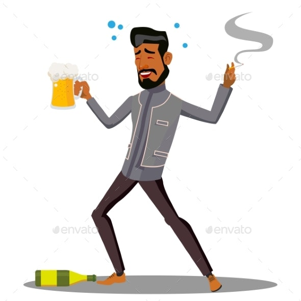 Adult Drunk Man With Glass of Beer and Cigar - People Characters