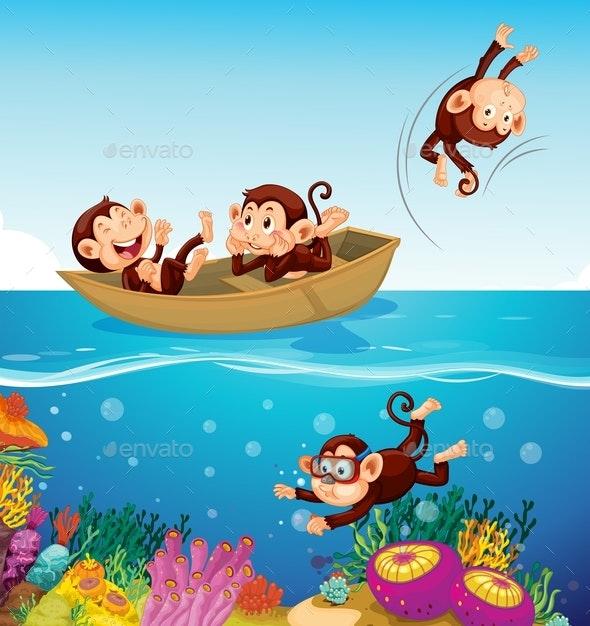 Monkeys at The Sea - Animals Characters