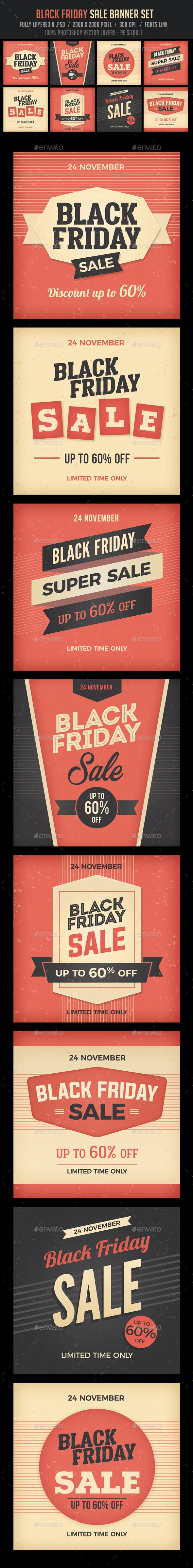 Black Friday Banners Set - Banners & Ads Web Elements