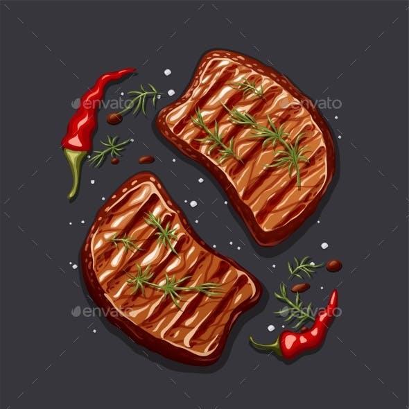 Two Piece of Meat Steak