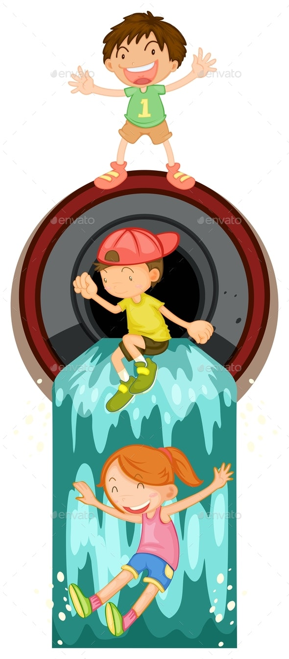 Kids Playing At Waste Pipe - People Characters