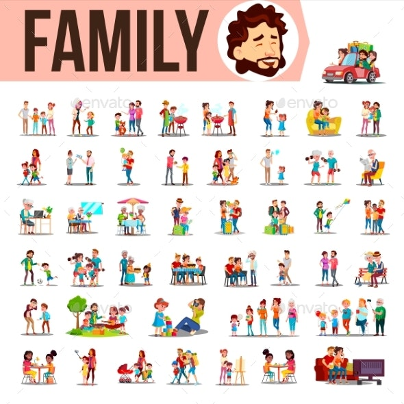Family Set Vector - People Characters