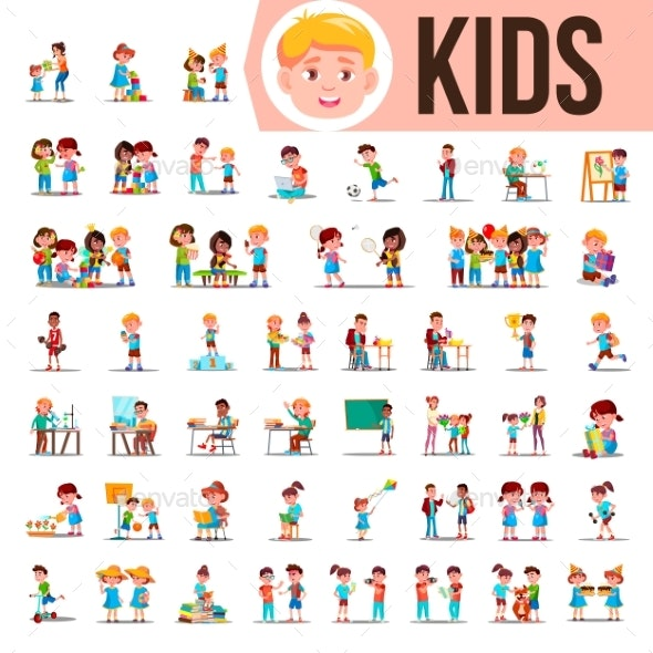 Kids Children Set Vector - People Characters