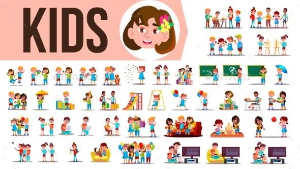 Kids Children Set Vector - People Characters