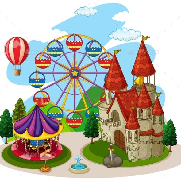 An Amusement Park on White Background