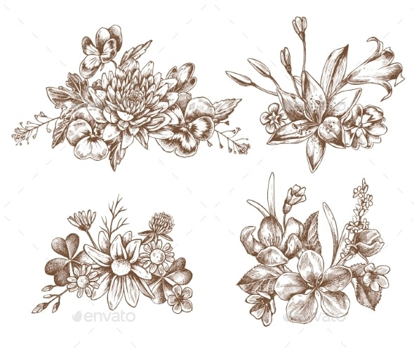 Vector Collection of Hand Drawn Autumn Flowers - Flowers & Plants Nature