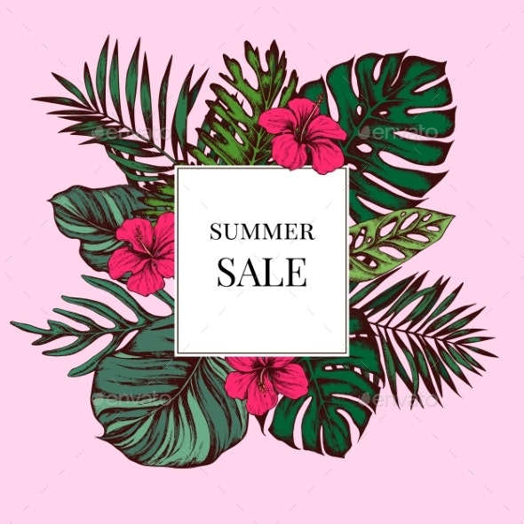 Summer Sale Badge Over Tropical Leaves on Pink - Flowers & Plants Nature