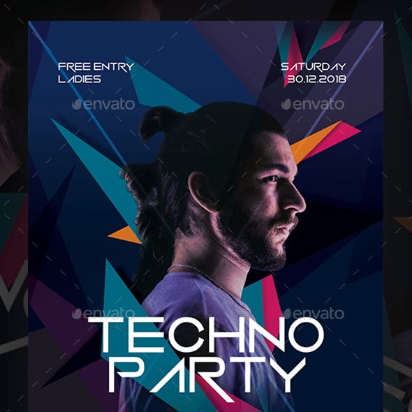 Techno Party Flyer Template