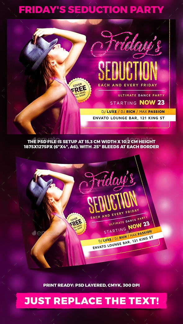 Friday's Seduction Party Flyer - Clubs & Parties Events