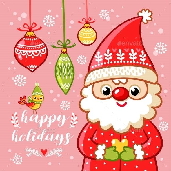 Santa Claus is Holding a Gift - Christmas Seasons/Holidays