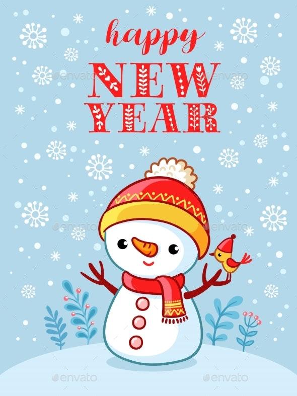 Christmas Card with Snowman - Christmas Seasons/Holidays