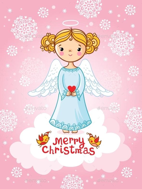 Vector Greeting Card with Angel Standing - Christmas Seasons/Holidays