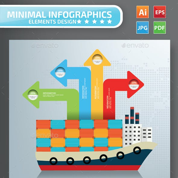 Container Ship Infographics Design