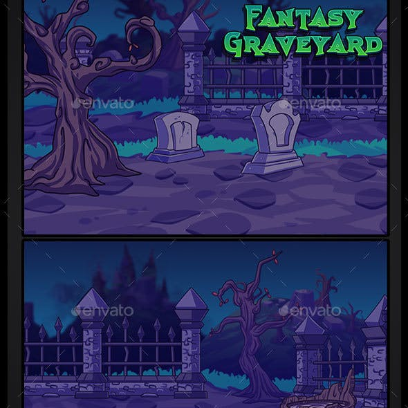 2D Fantasy Graveyard Background