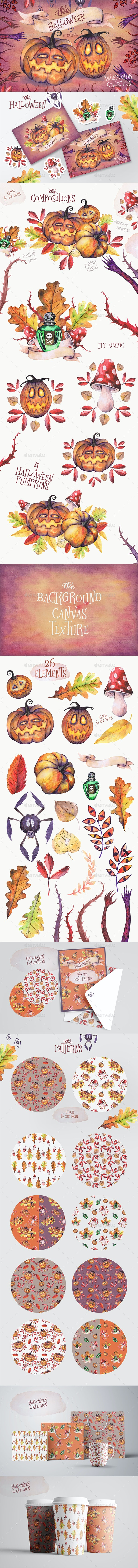 Halloween Watercolor Collection - Objects Illustrations