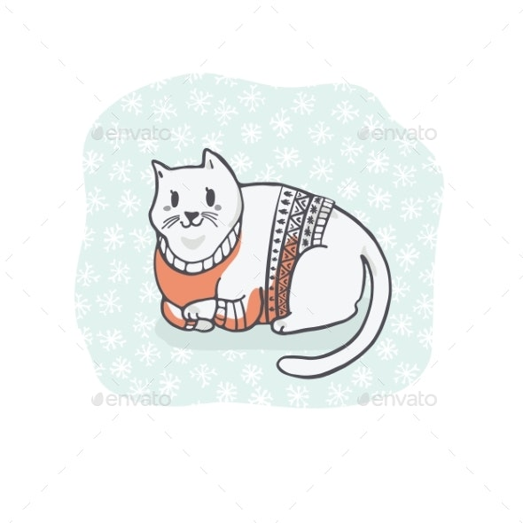 Christmas Cat in Embroidery Sweater - Animals Characters