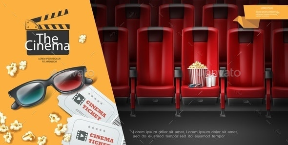 Realistic Movie Premiere Template - Food Objects