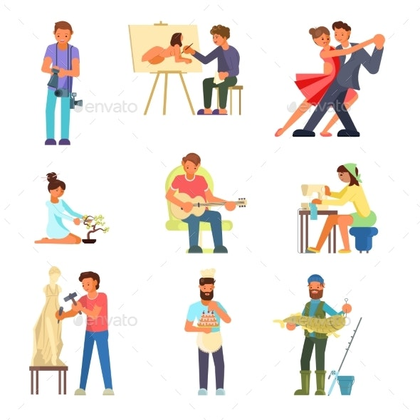People and Their Hobbies Vector Flat Illustration - People Characters