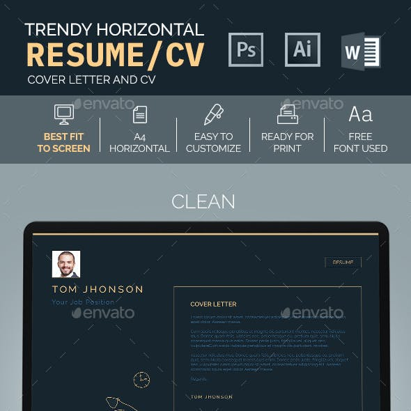 Trendy Horizontal Resume/CV
