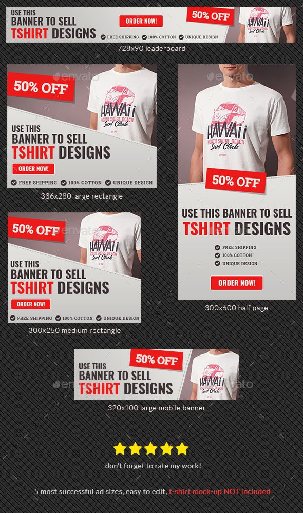 Tshirt For Sale Web Banner Template - Banners & Ads Web Elements