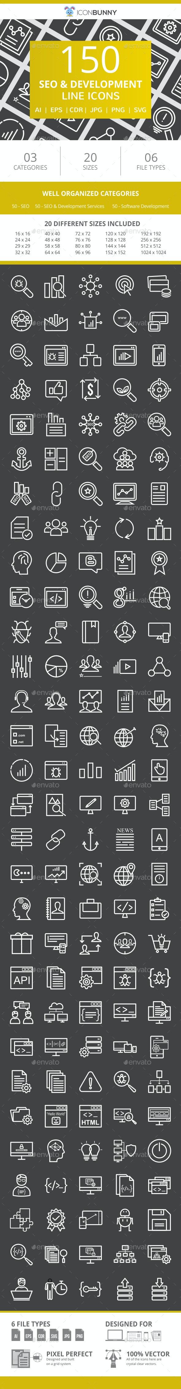 150 SEO & Development Line Inverted Icons - Icons