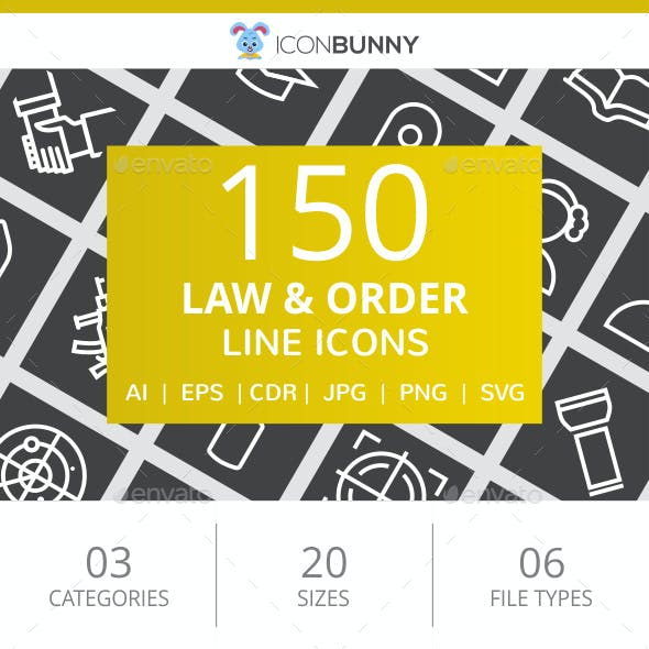 150 Law & Order Line Inverted Icons