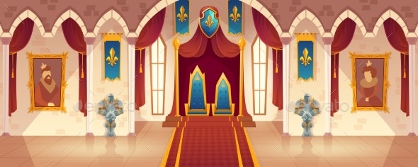 Vector Castle Throne Hall Interior of Royal - Buildings Objects