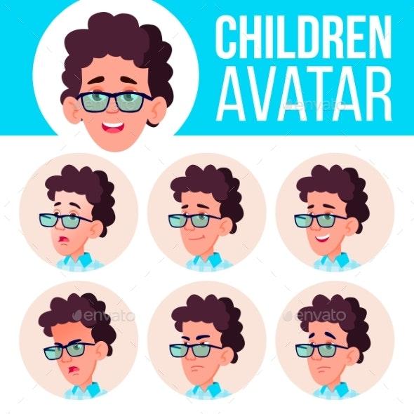 Boy Avatar Set Kid Vector. High School. Face - People Characters